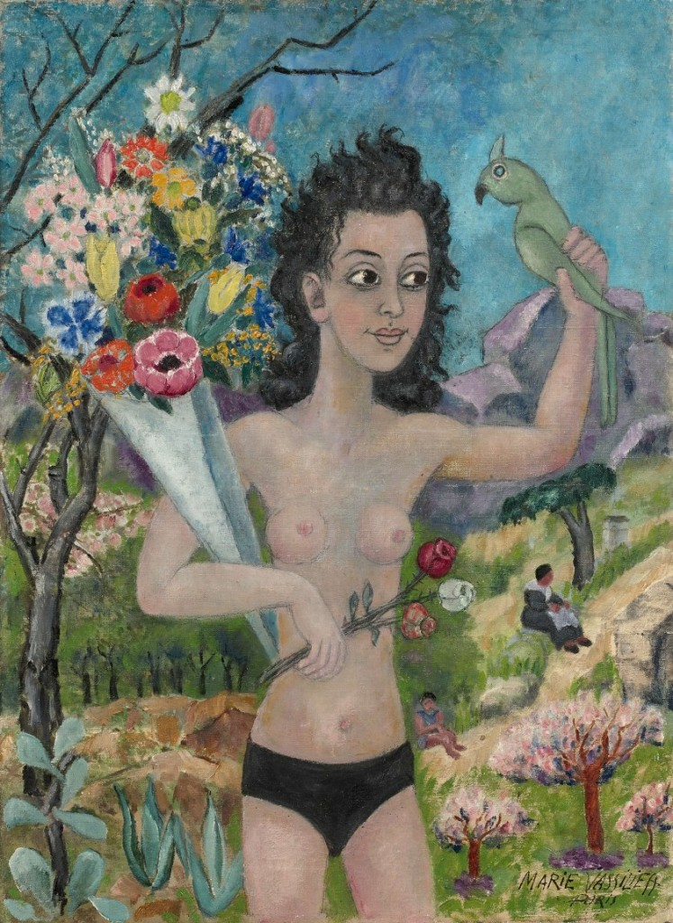 image woman south of france painting flowers parrot