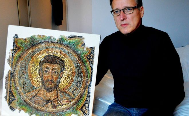 Arthur Brand with the recovered Byzantine mosaic. Image: BBC