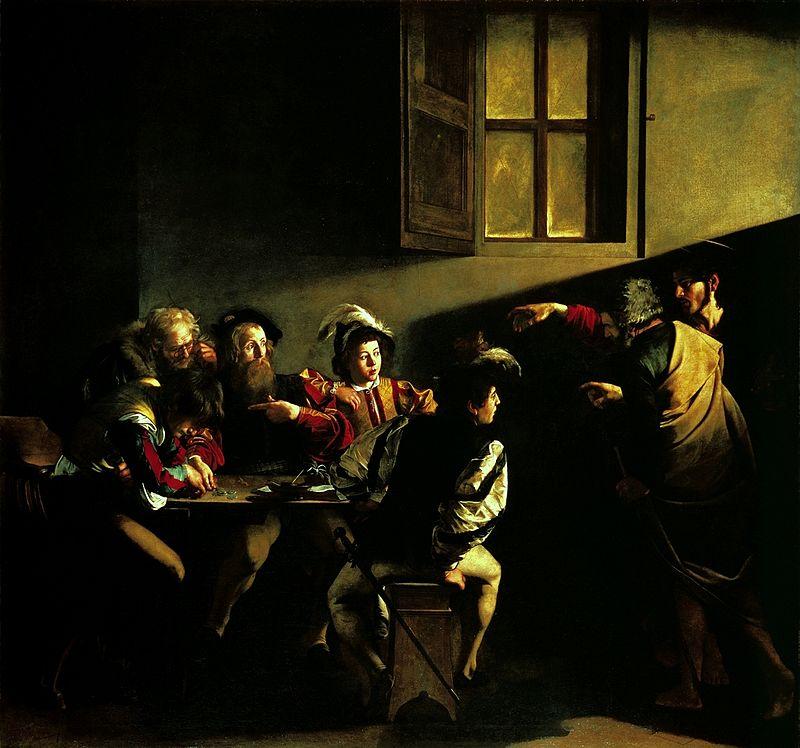 Caravaggio (1571 Mailand - 1610 Porto Ercole) - Die Berufung des Heiligen Matthäus, 1599/1600 | Abb. via Wikipedia