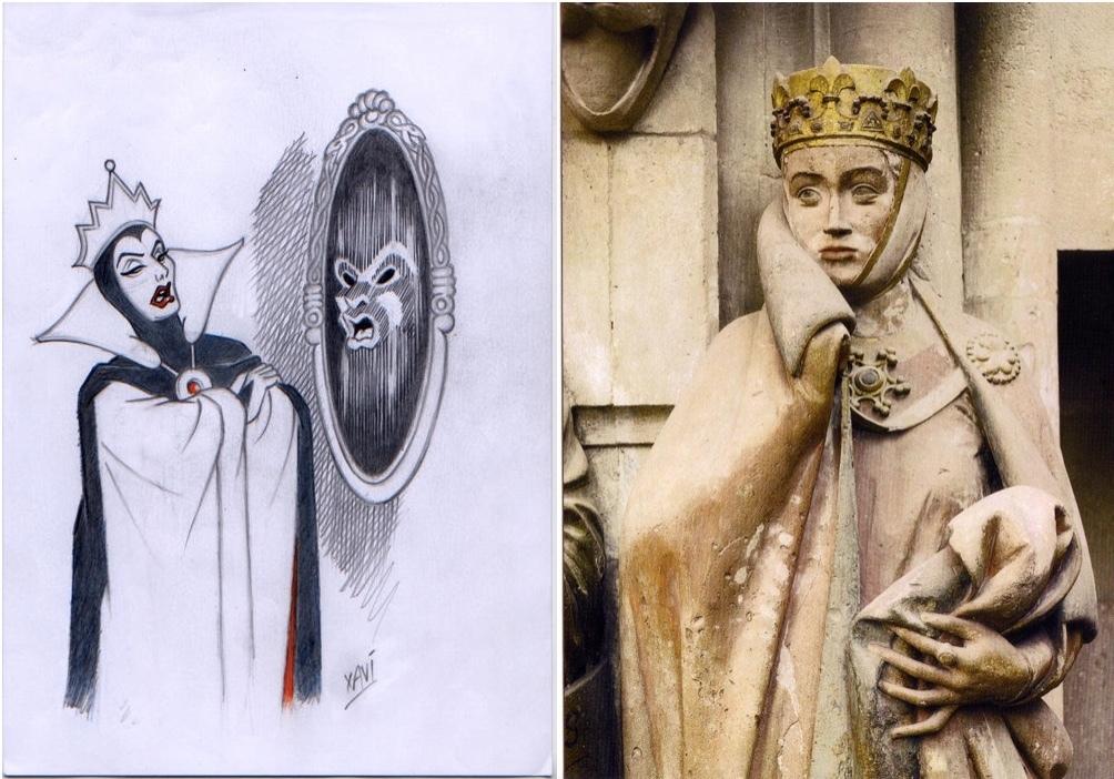 """À gauche: Xavier Vives Mateu - Esquisse originale """"La reine du mal demande à son miroir magique"""", crayon sur papier À droite: Uta von Naumburg"""
