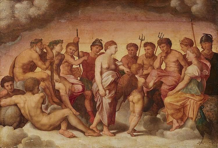 Italienischer Meister des 16. Jhs. - Götterversammlung, Öl/Holz