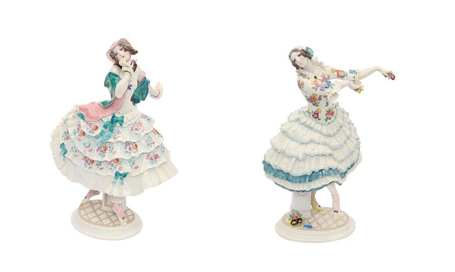 """Links: MEISSEN - """"Estrella"""", Figur aus dem Russischen Ballett, 20. Jh. Rechts: MEISSEN - """"Chiarina"""", Figur aus dem Russischen Ballett, 20. Jh."""