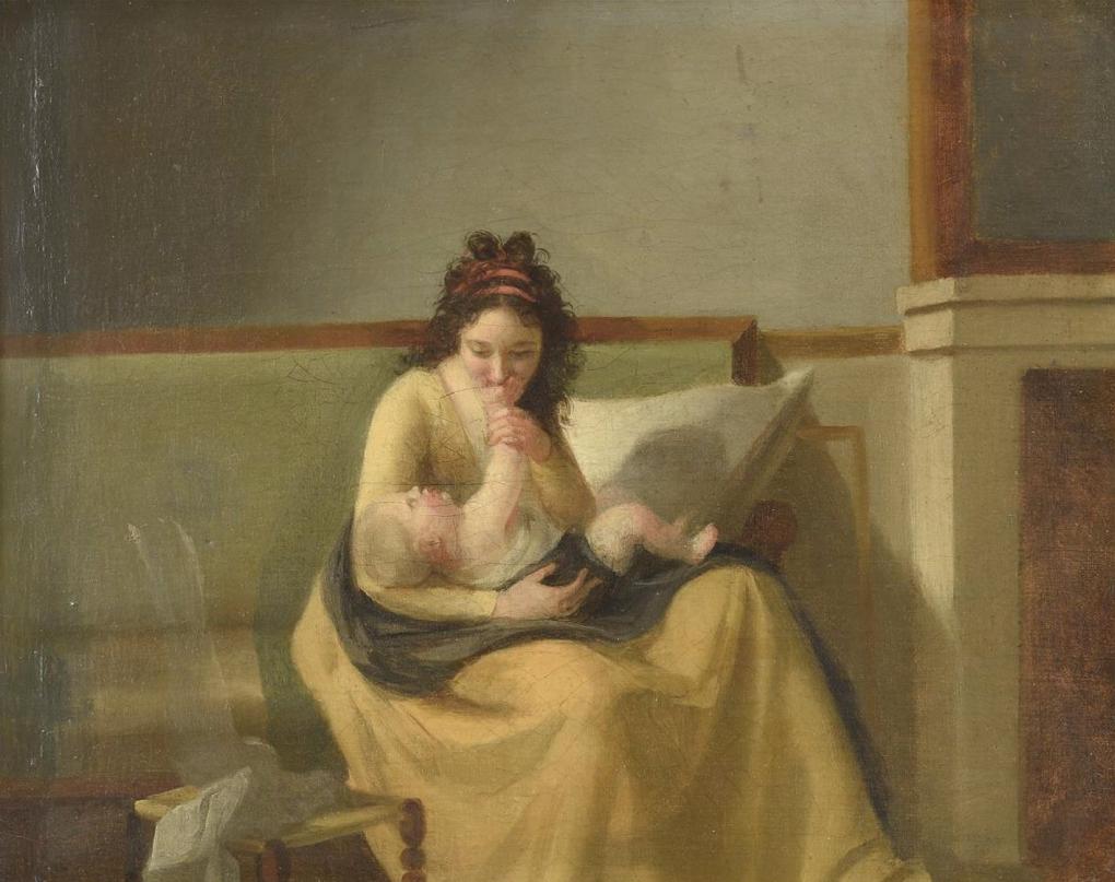 Ecole Néoclassique du XIXe siècle. Femme et enfant. ArtValorem