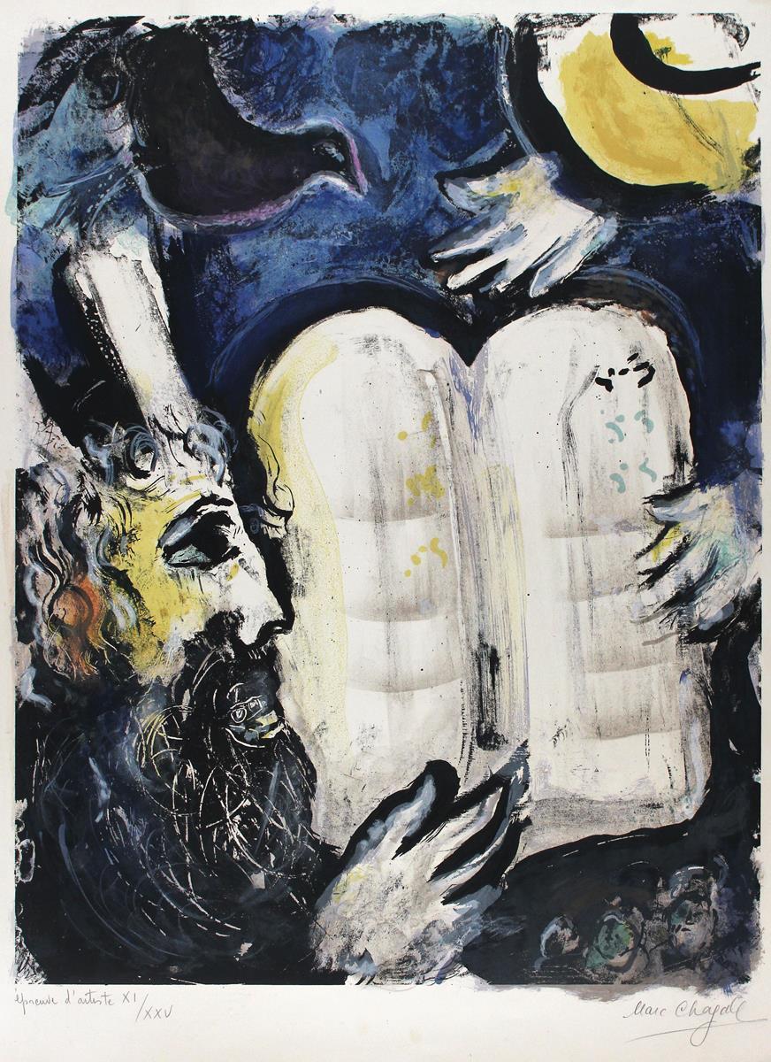 Marc Chagall (1887 Witebsk - 1985 Saint-Paul-de-Vence), Moses und die zehn Gebote, 1962
