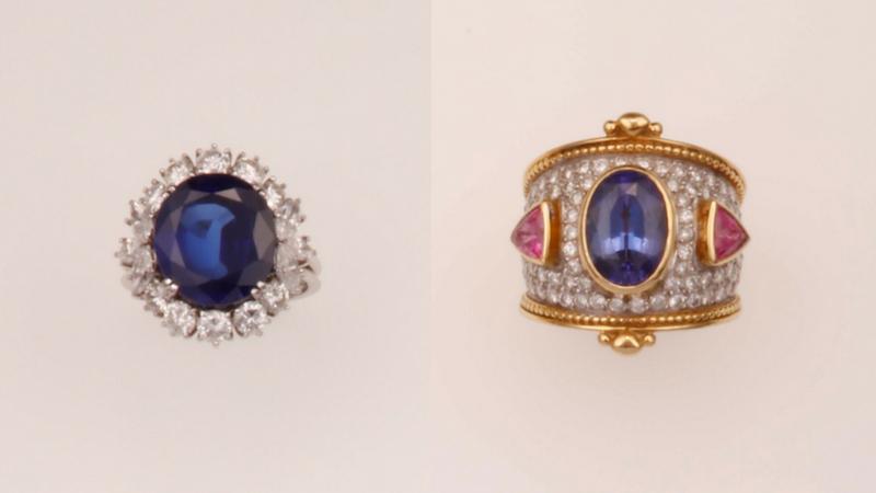 Gauche: bague en saphir de Birmanie / Droite: bague bombée avec tanzanite, rubis et diamants.