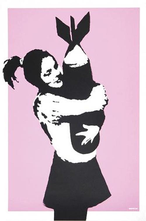 Banksy, Bomb Hugger, 2003. Limited Edition of 600. On sale at Graffiti Street