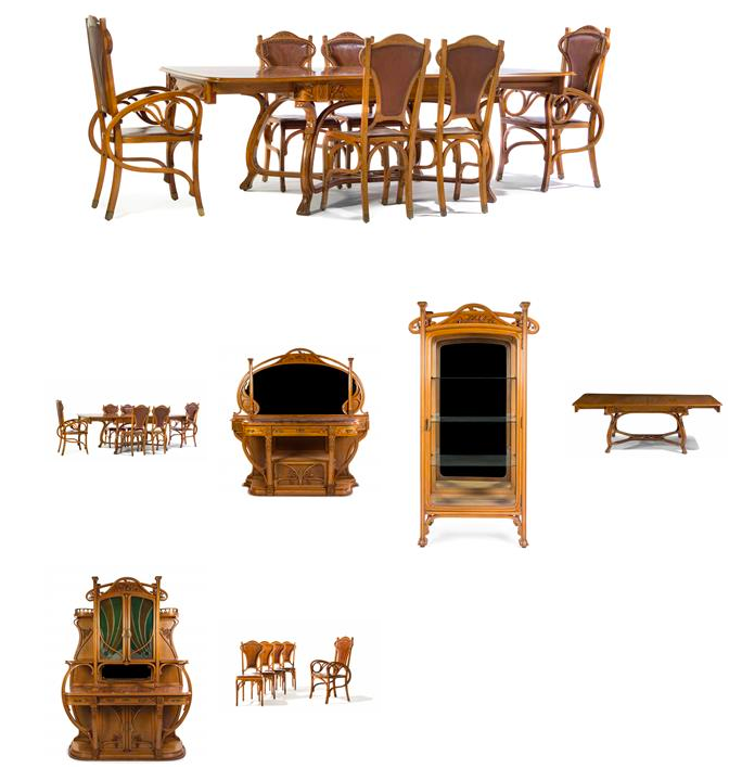A Spanish Art Nouveau Oak Dining Room Suite, comprising a vitrine, a server, a sideboard, an extension table, two armchairs and twelve side chairs, each with carved foliate decoration throughout. Low estimate: 15 000 USD. Leslie Hindman Auctioneers