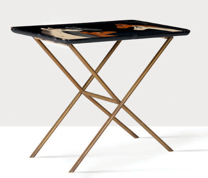 Tray table, painted wood, brass, c. 1970. Gabriella Crespi.