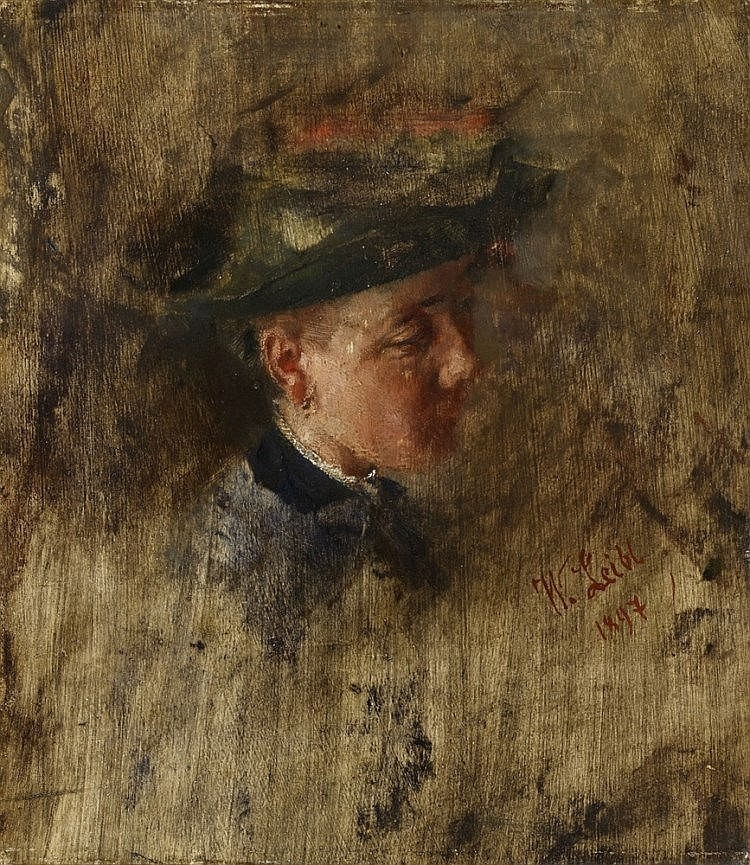 WILHELM LEIBL (1844 Köln-1900 Würzburg) – Girl's head - so-called Malresl, oil on wood, 27.7 x 24.1 cm, signed and dated 1897 Estimate: 40 000-60 000 EUR