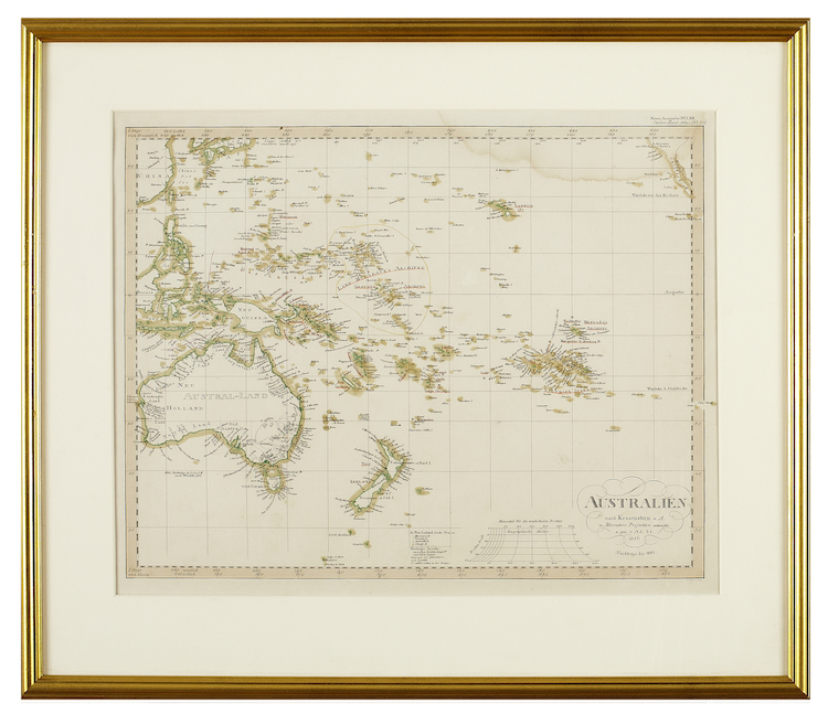 "Kartor, sex stycken ""Planiglob der antipoden"",""Der Atlantische ocean"", ""Westliche halbkugel"", ""Oestliche halbkugel"", ""Europa"", och ""Australien"". Tyskland, 1800-tal, Bland annar Adolph Stieler. Kolorerade etsningar, varierande mått 28 x 35 - 32 x 42. Utropspris: 1 500 SEK. Uppsala Auktionskammare"