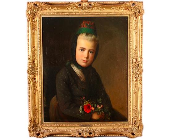 RUDOLF GRÄTZ (1820 - ?) - Mädchen in Tracht, Öl/Lwd., signiert