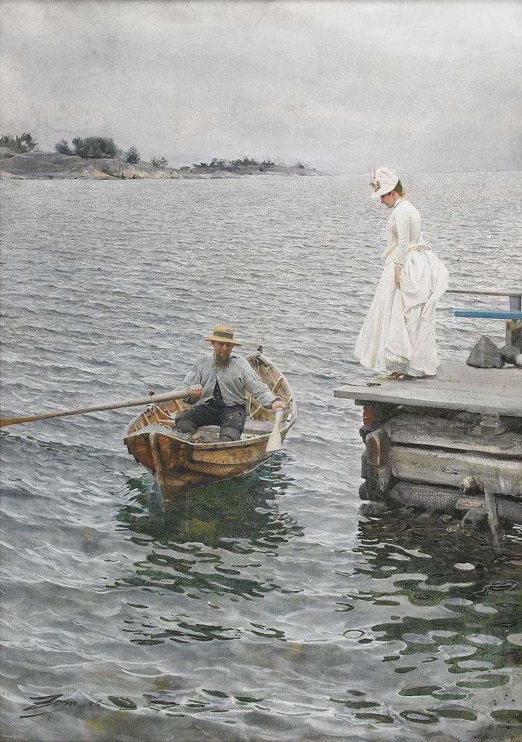 """Anders Zorn, """"Sommarnöje"""", akvarell, 1886, klubbad på Stockholms auktionsverk för 26 miljoner."""
