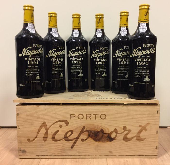 Caisse de six bouteilles de Porto de Niepoort Vintage de 1994