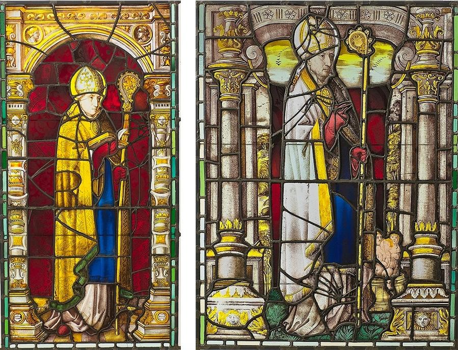 Gauche : deux importants vitraux de la Renaissance belge, XVIe siècle