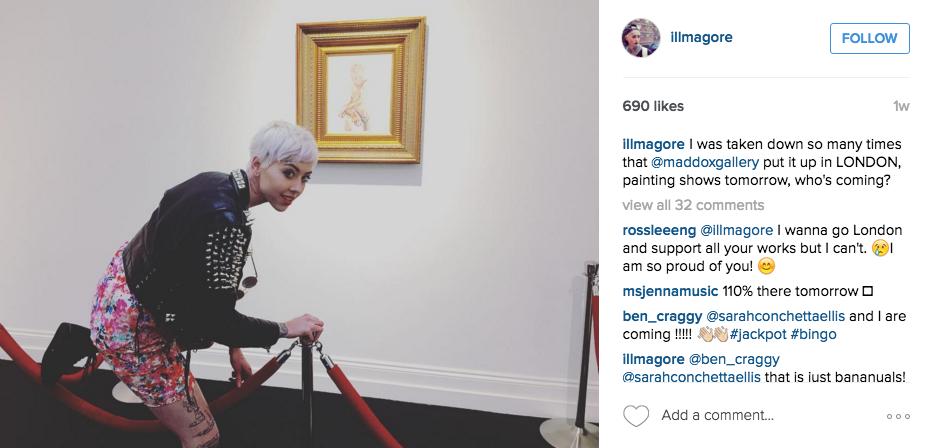 Le compte Instagram de l'artiste de 24 ans Illma Gore Image via Instagram