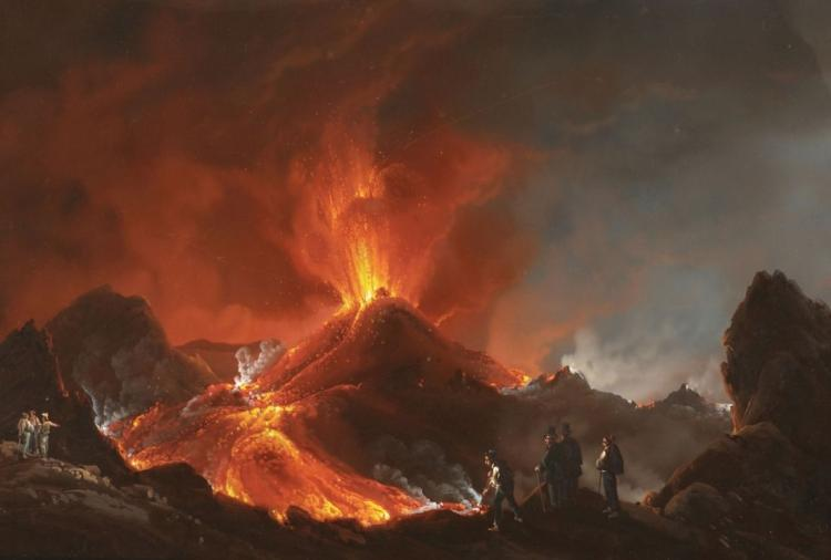 GIOACCHINO La PIRA (tätig in Neapel 1839-70) - Die Eruption des Vesuv ('Cratere del 1850'), Gouache/Papier, bezeichnet, signiert und datiert, 1850