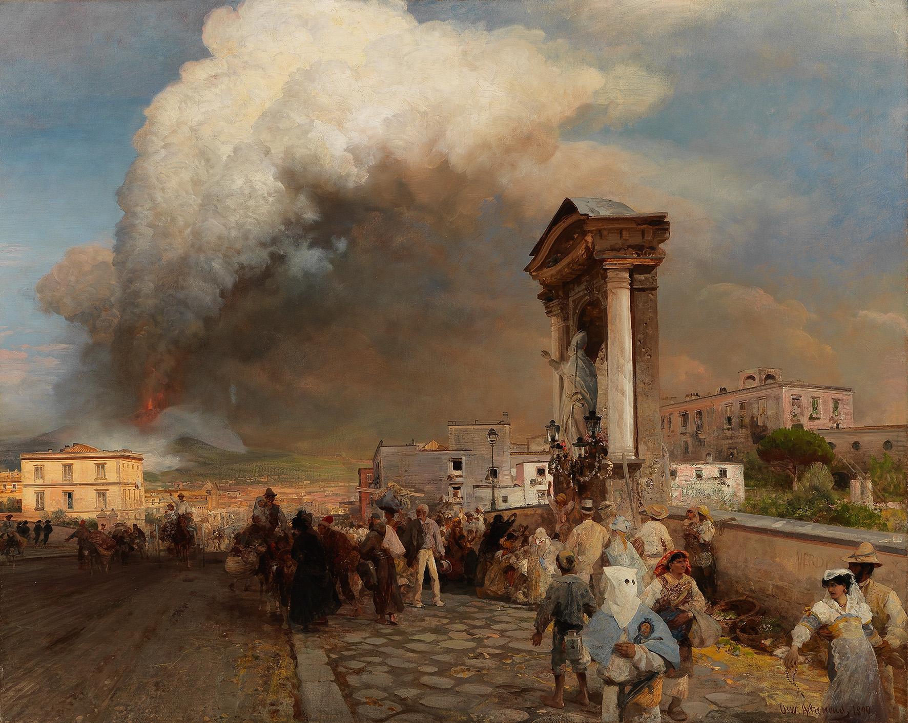 OSWALD ACHENBACH (1827 Düsseldorf 1905) - Der Ausbruch des Vesuvs, Öl/Lwd., signiert und datiert, 1890