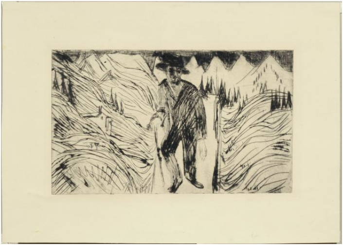 ERNST LUDWIG KIRCHNER (Aschaffenburg 1880-1938 Frauenkirch / Davos) - The Wanderer, drypoint etching, 3rd state, one of 9 prints of this state known to date, 18.2 x 30.5 cm, 1922