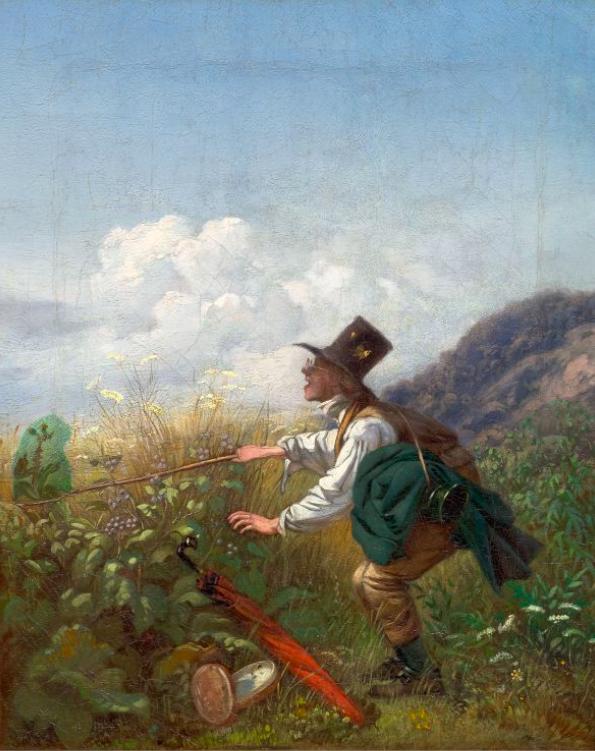 Carl Spitzweg (1808 Munich 1885), 'Der Schmetterlingsfänger', c. 1836/37. Photo: Koller