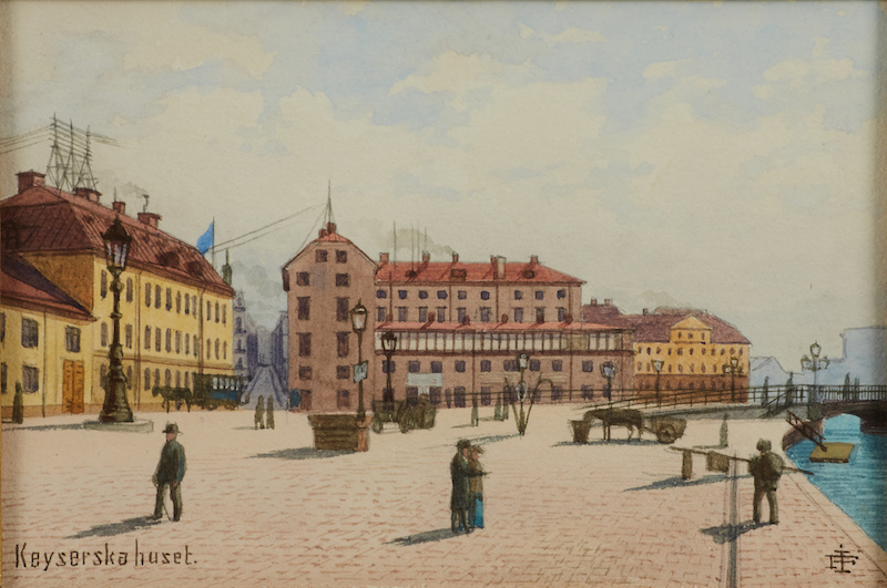 "JOHAN FREDRIK ISBERG (1846-1904): ""Keyserska huset"", monogramsignerad, akvarell, ca 10x15,5 cm; Läs mer JOHAN FREDRIK ISBERG (1846-1904): (3 st) betitlade ""Keyserska huset"", ""vid Munkbron"" - Gamla stan ""Kornhamnstorg No 57"", monogramsignerade, akvareller, ca 15,5x10 resp 10-15,5 cm;"