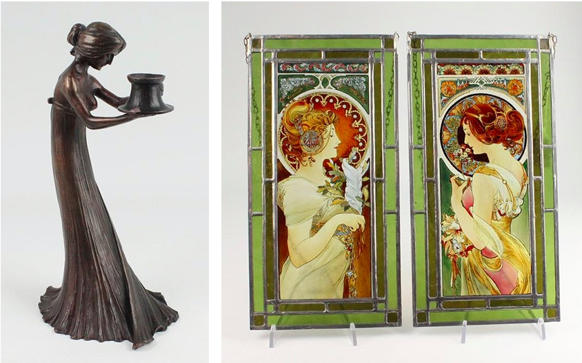 Links: GUSTAV GURSCHNER - Figürlicher Kerzenhalter, Bronze, um 1899 Rechts: Paar Glasbilder nach ALFONS MUCHA mit polychromer Handbemalung