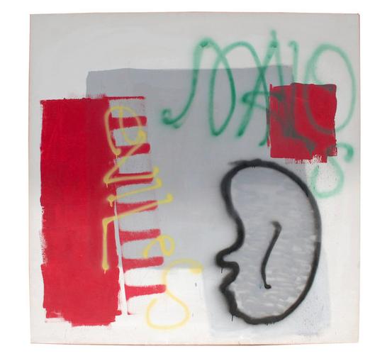 """Dennis Hopper (Amerikan, 1994-2010), """"Untitled"""" (Graffiti Series), 1991, akryl på canvas med negativ. Segnerad och daterad."""
