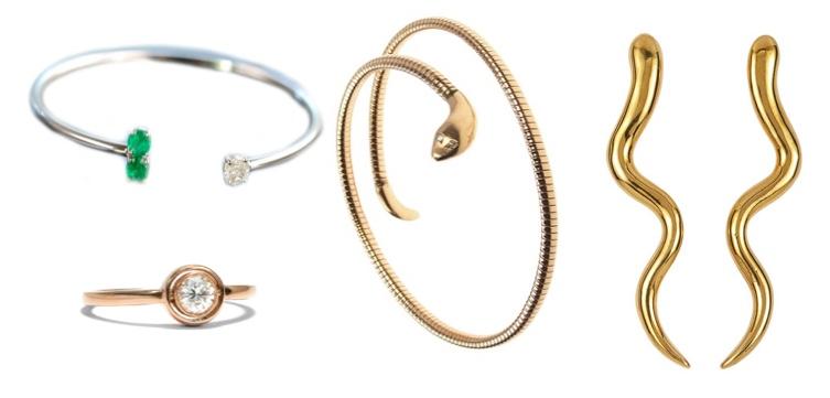 Links oben: Armspange mit Smaragden und Diamant|Die Halsbandaffaire Links unten: Roségoldring mit Diamant|Hofer Mitte: Schlangenarmreif|Rheinfrank Rechts: Schlangenohrringe|Artemest