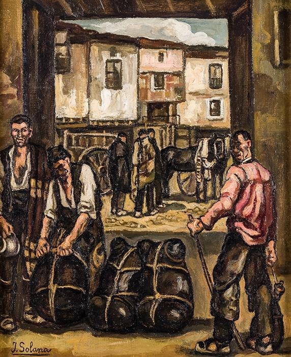 José Gutiérrez Solana. Cargadores de vino. Huile sur toile. Estimation: 75 000€