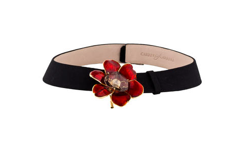 18ct yellow gold Carrera y Carrera choker necklace on wide satin collar featuring removable red enameled flower brooch pendant with diamond accent, fancy cut quartz set above and double stick pin closure and velcro closure at nape. Includes black satin strap bracelet.