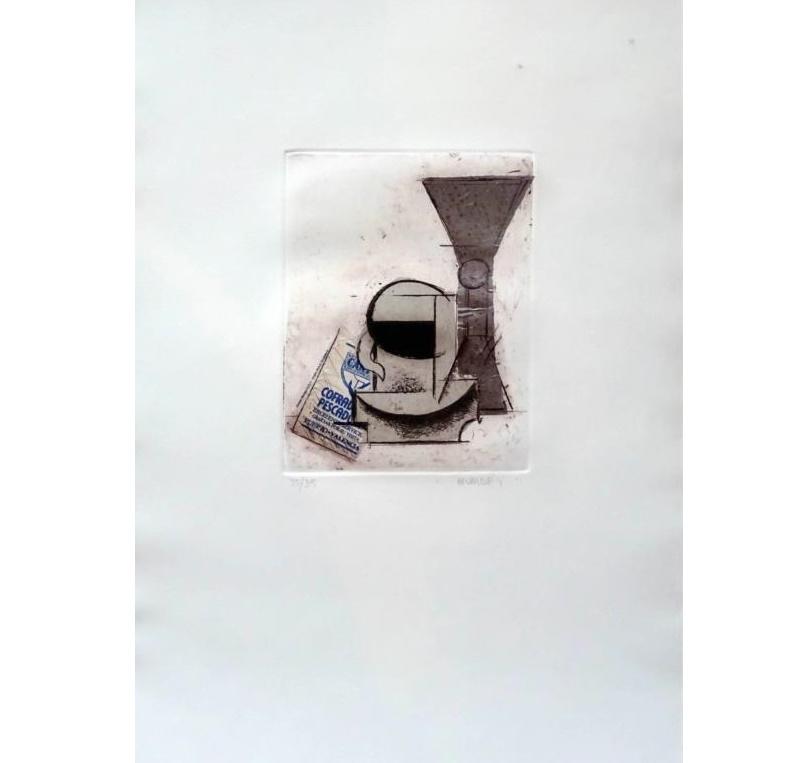 MANOLO VALDÉS. Sin título. Grabado y collage firmado a lápiz por el artista y numerado