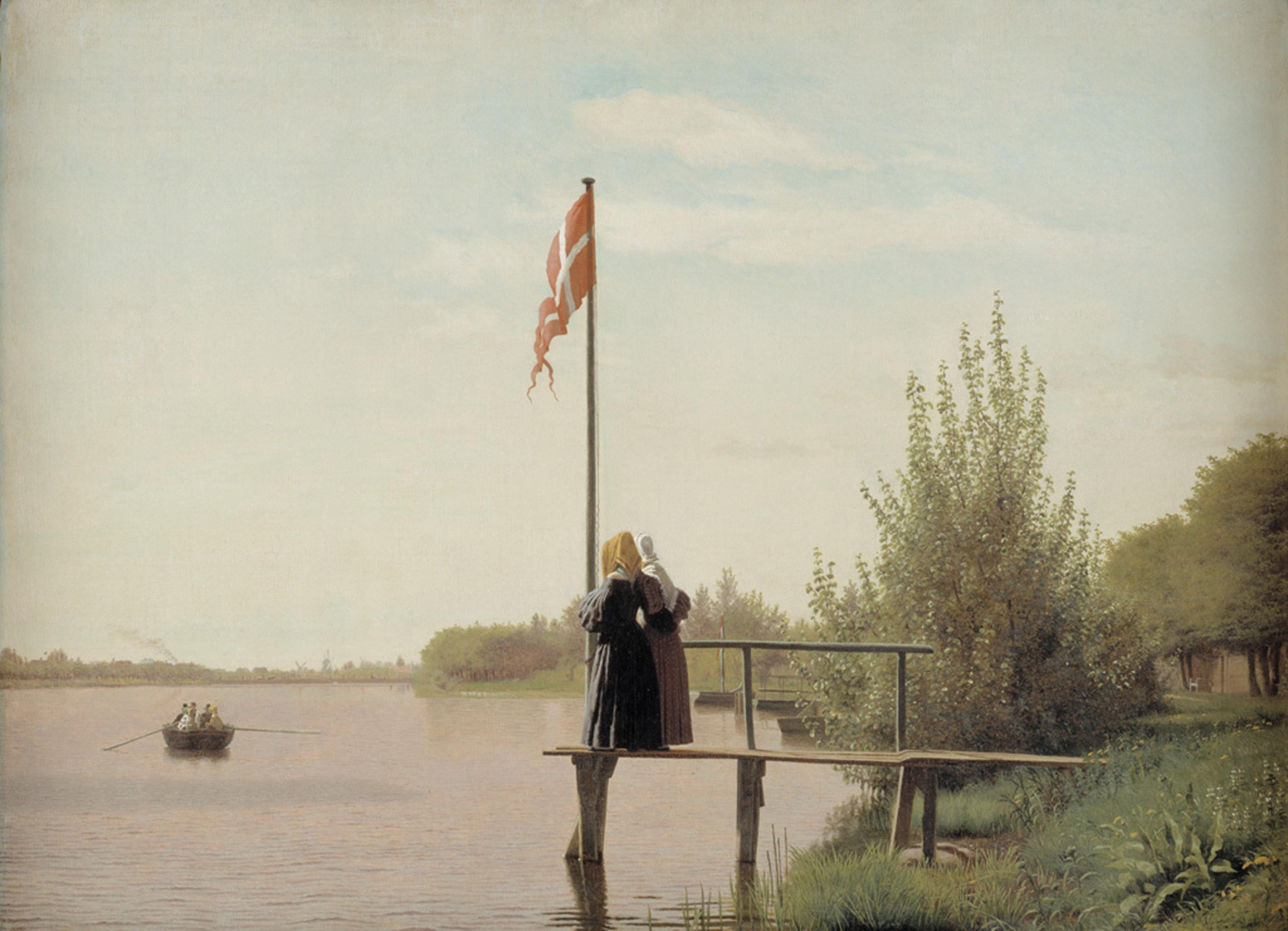 """Christen Købke, """"Udsigt fra Dosseringen ved Sortedamssøen mod Nørrebro"""", 1838. Olja på duk. SMK, Statens Museum for Kunst."""