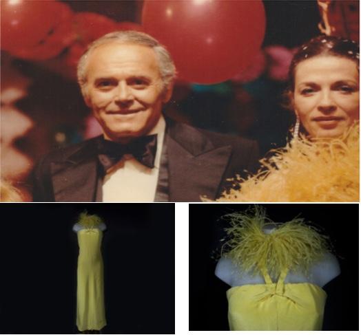 """Oben: Foto von Anastasia Bavdaz Polacco und Henry Fonda am Filmset von """"Die Rivalin"""", 1973 Unten: Das gelbe Seidenkleid mit Marabu-Boa aus dem Film"""