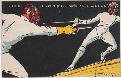 JEUX OLYMPIQUES PARIS 1924  Escrime - carte illustrée par ROOWY