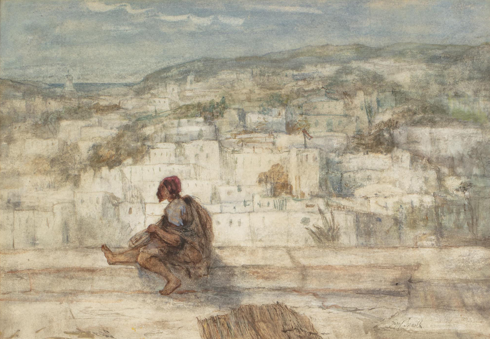 Watercolor on paper by Jozef Israels (Dutch, 1824-1911), titled Souvenir de Tanger, signed 'Jozef Israels' lower right (est. $3,000-$5,000).
