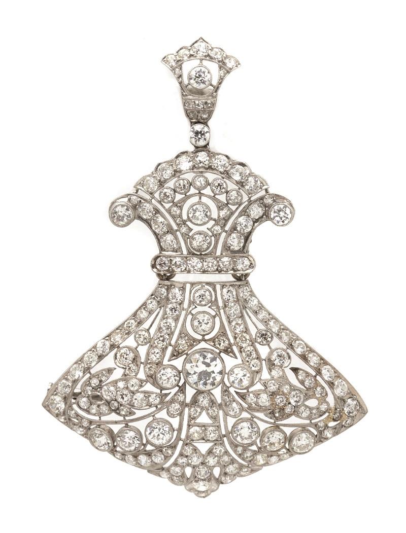 Espectacular broche Art Déco en platino con calado de diamantes talla brillante antigua (c. 1930)