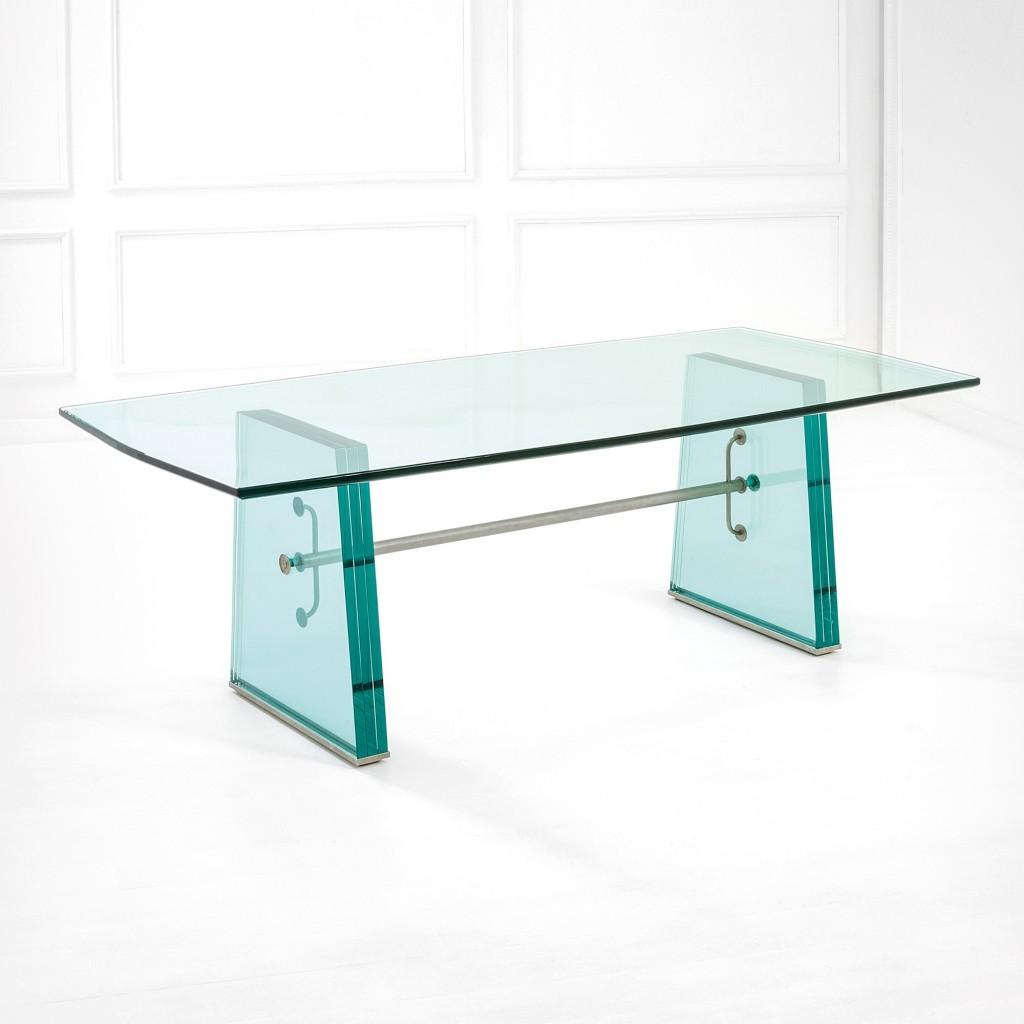 Table rare en cristal de forte épaisseur et en laiton nickelé, produite par Fontana Arte, vers 1935