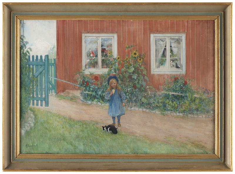 """""""Brita, en katt och en smörgås"""" / """"Kersti och katten"""" visar upp ett av Carl Larsons mest kära motiv. Signerad C.L. och utförd 1898"""