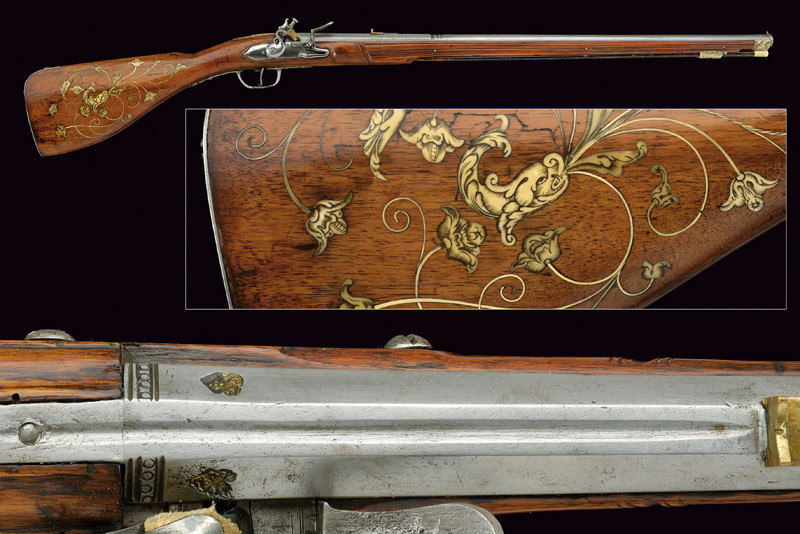 Rare early Steinschloss rifle, Germany, 3rd quarter of the 17th century.