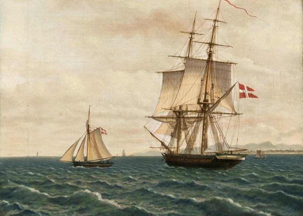 CHRISTOFFER WILHELM ECKERSBERG (1783 Blakrog - 1853 Kopenhagen) - Brigg und Lotsenboot, Öl/Lwd., wohl vor 1829