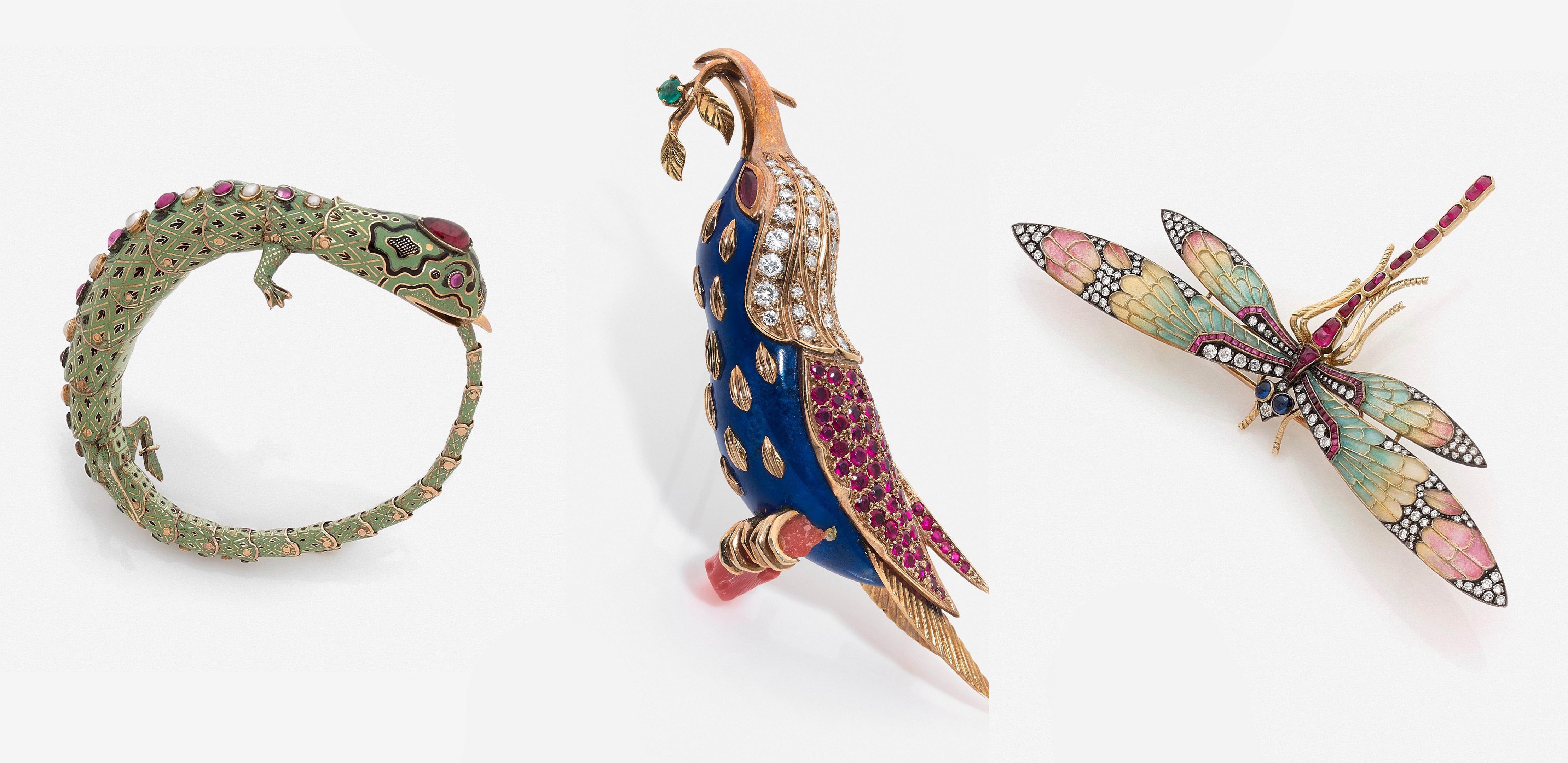 Bracelet lézard, Piaget, broche oiseau exotique, broche libellule, images ©HVMC