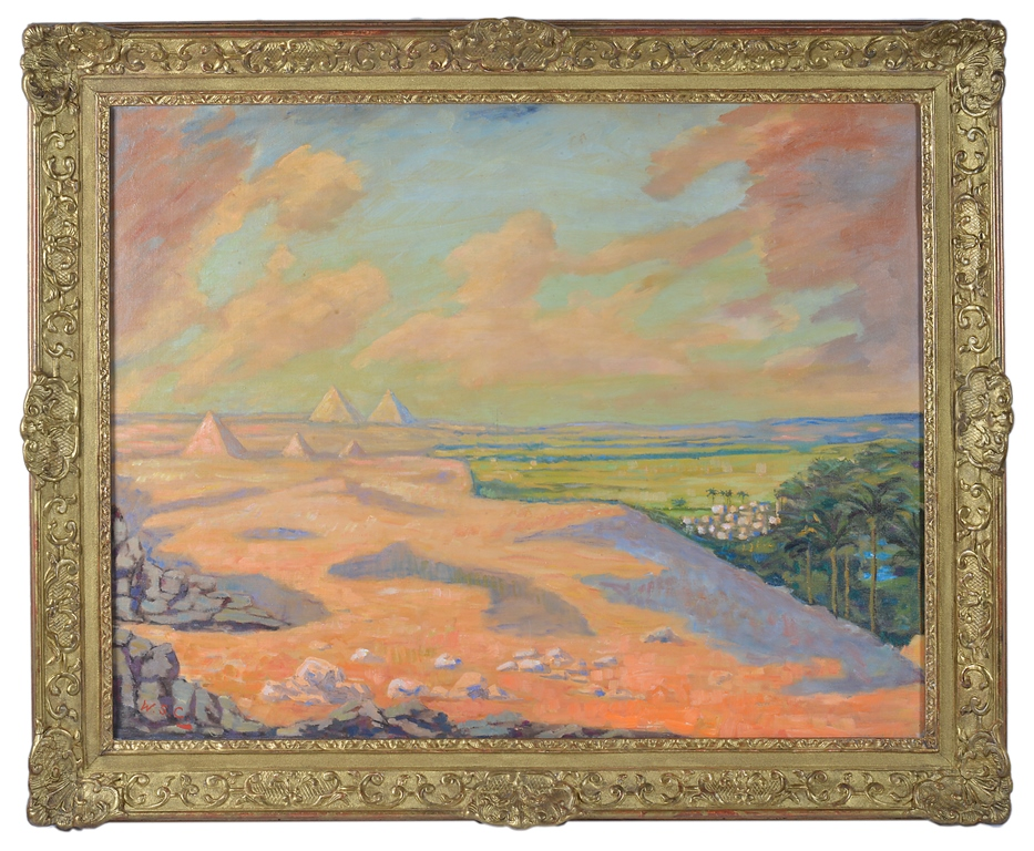 Sir Winston Churchill, O.M., R.A. (British, 1874-1965): The Giza Pyramids at Cairo, oil on canvas, signed with initials, H 71 x W 91.4 cm.