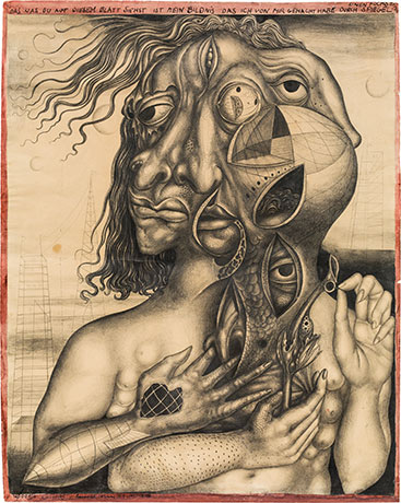 ERNST FUCHS (1930 Wien 2015) - Selbstbildnis durch den Spiegel, Bleistift/Bütten, signiert und datiert, 1946