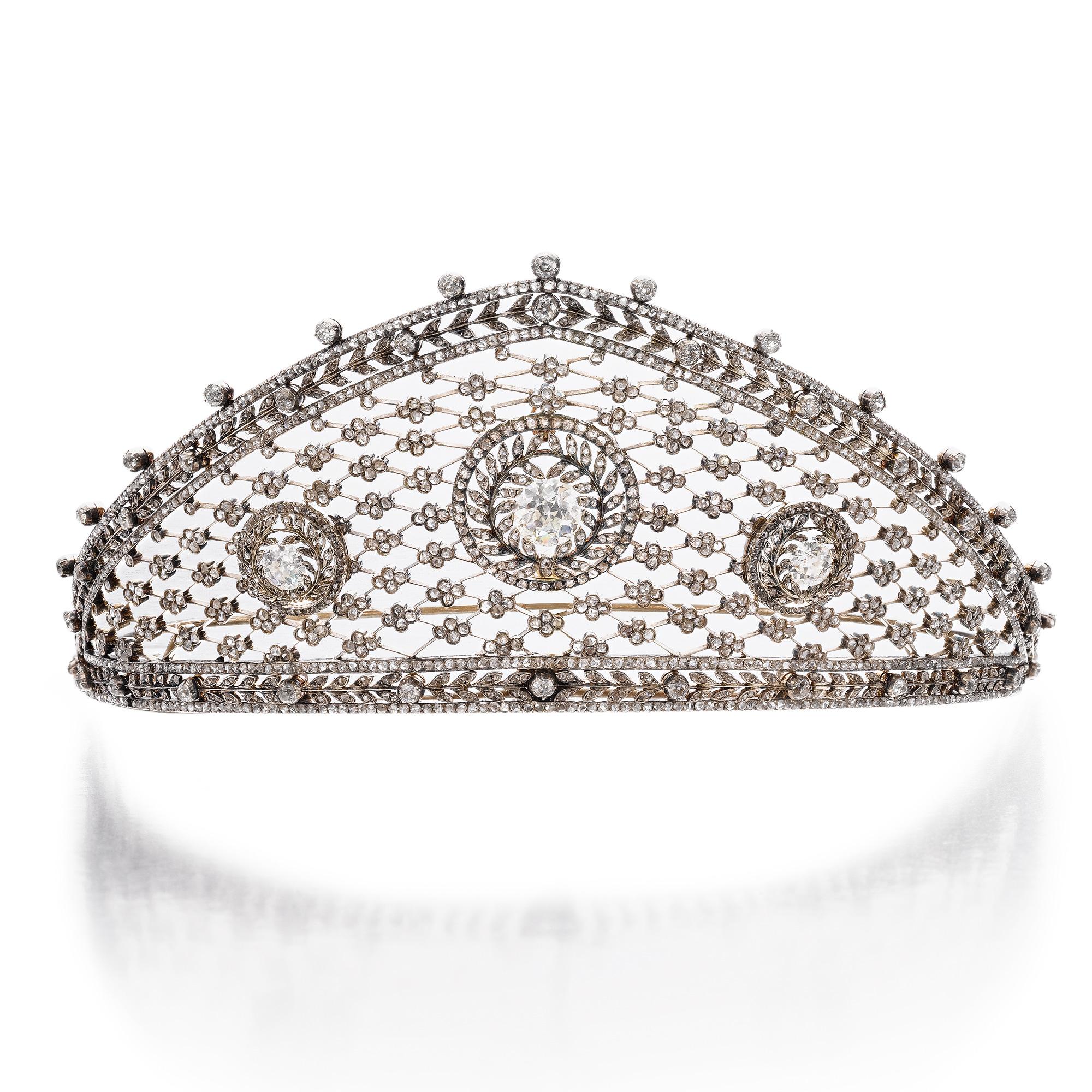 Diamond tiara, attributed to Fabergé, circa 1903. Image: Sotheby's