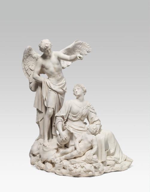 JOSEF BERGLER (Windischmatrey 1718 - 1788 Passau) - Die Errettung der Hagar in der Wüste, Alabaster, H: 58,5 cm, signiert und datiert, Wien 1753 Schätzpreis: 50.000-100.000 EUR