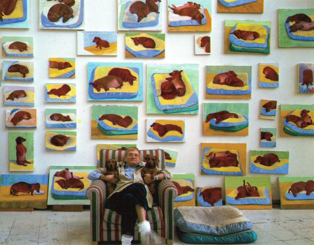 David Hockney mit seinen beiden Dackeln Boodgie und Stanley