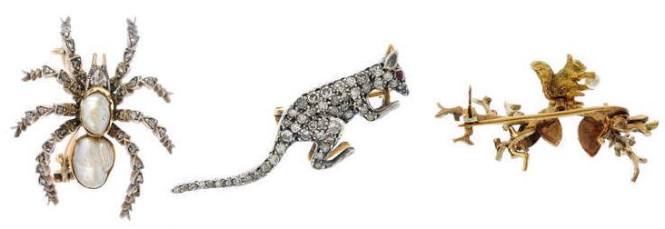 À gauche: Broche araignée en or, argent et perle Au centre: Broche kangourou en diamants, début du XXe siècle À droite: Broche écureuil en or par Alabaster & Wilson, années 1970