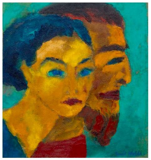 EMIL NOLDE (1867 Nolde 1867 - 1956 Seebüll) - Doppelbild (Sie seltsames Licht), Öl/Lwd., signiert, 1918