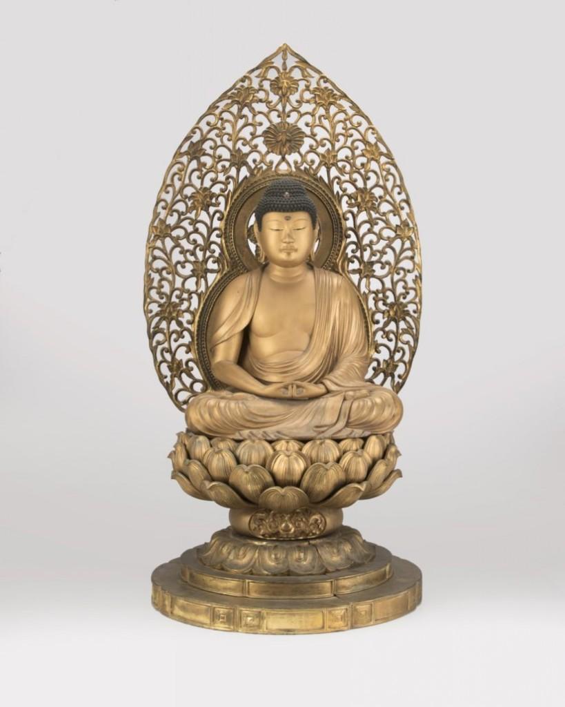 Giltwood figure of Amida Buddha