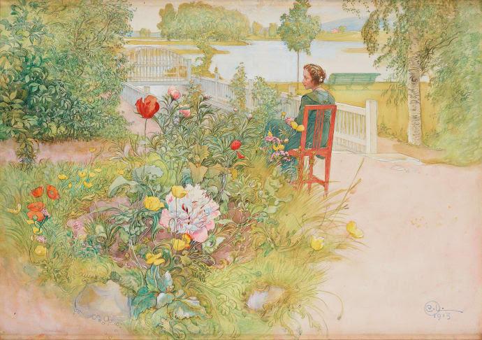 """Carl Larssons """"Sommar i Sundborn / Flicka i trädgård"""" auktioneras ut 4-5 maj på Bukowskis. Akvarellen ropas ut för 3 000 000 - 3 500 000 kr. Foto: Bukowskis."""