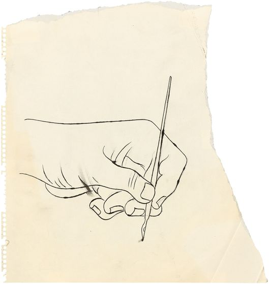 ANDY WARHOL (1928 Pittsburgh – 1987 New York) - Hand with Ink Pen, Tuschfeder, Bleistift/Papier, um 1953